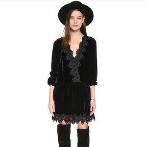 Free people velvet lace black romper size medium